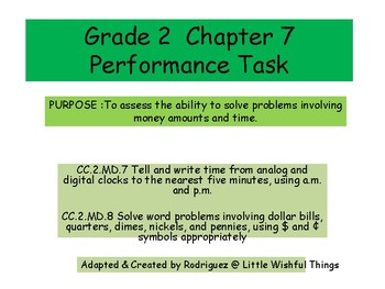Grade 2 Chapter 7 Performance task as PDF