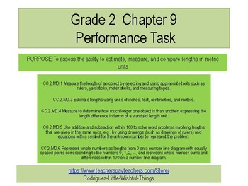 Grade 2 Chapter 9  Performance task as PDF