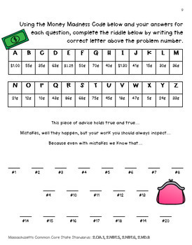 "Grade 2 Coin Word Problem Enrichment Project - ""Piggy Bank Money Madness"""