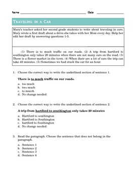 Grade 2 Common Core Language: Editing and Revising -- Traveling