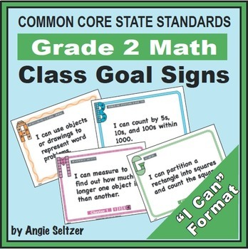 Grade 2 Common Core Math Communication Bundle (Posters, Goal Signs, Checklists)
