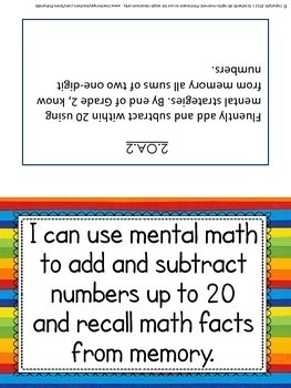 Grade 2 MATH Common Core I Can Statements and Learning Targets