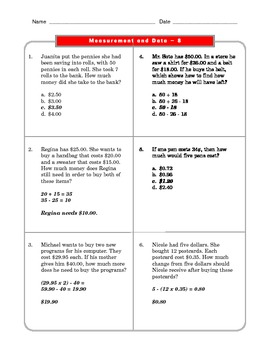 Grade 2 Common Core Math Worksheets: Measurement and Data 2.MD 8 #1-4