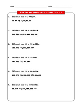 Grade 2 Common Core Math Worksheets: Number & Operations in Base Ten 2.NBT #2