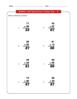 Grade 2 Common Core Math Worksheets: Number & Operations in Base Ten 2.NBT 5 #1