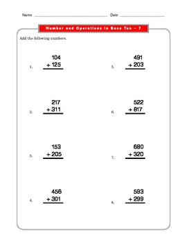 Grade 2 Common Core Math Worksheets: Number & Operations in Base Ten 2.NBT7 #1-4