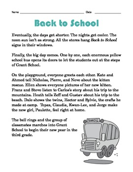 Grade 2 Common Core Reading: Back to School