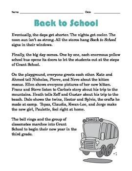 Grade 2 Common Core Reading: Back to School
