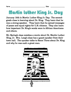 Grade 2 Common Core Reading: Dr. Martin Luther King Jr. Day