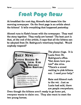 Grade 2 Common Core Reading: Front Page News