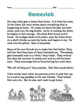 Grade 2 Common Core Reading: Homesick