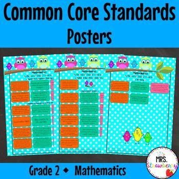 Grade 2 Common Core Standards Posters {Mathematics} Owl Theme
