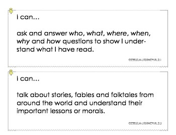 Grade 2 Common Core State Standards ELA I Can Statements (half page)