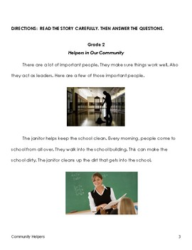 Grade 2 Community Helpers ELA Assessment