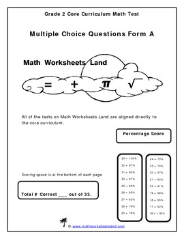 Grade 2 Core Curriculum Math Test - Multiple Choice Format