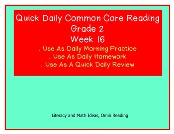 Grade 2 Daily Common Core Reading Practice Week 16 {LMI}
