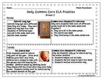 Grade 2 Daily Common Core Reading Practice Week 17 {LMI}