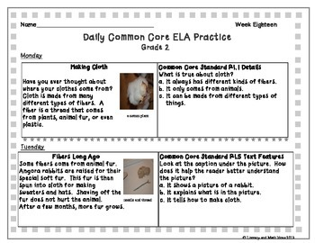Grade 2 Daily Common Core Reading Practice Week 18 {LMI}