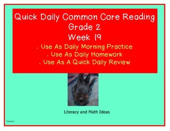 Grade 2 Daily Common Core Reading Practice Week 19 {LMI}