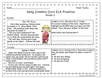 Grade 2 Daily Common Core Reading Practice Week 20 {LMI}