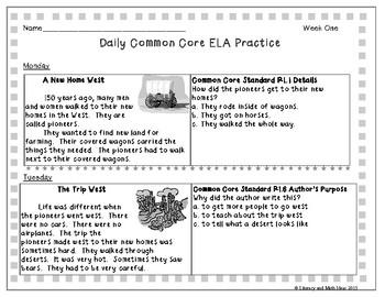 Grade 2 Daily Common Core Reading Practice Weeks 1-5 {LMI}