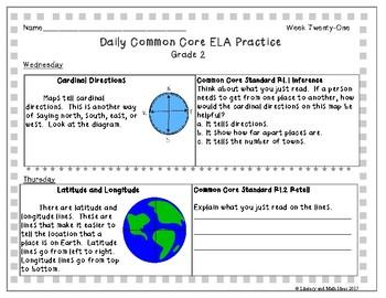 Grade 2 Daily Common Core Reading Practice Weeks 21-25 {LMI}