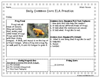 Grade 2 Daily Common Core Reading Practice Weeks 6-10 {LMI}