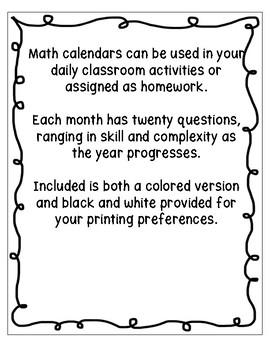 Grade 2 Daily Math Calendar Questions