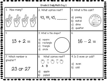 Grade 2 Daily Math Days 1-5 Freebie