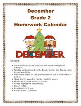 Grade 2 December Homework Calendar