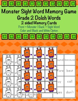 Grade 2 Dolch Sight Word Monster Memory Game