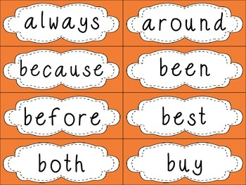 Grade 2 Dolch Sight Words {Orange} - for word walls and games