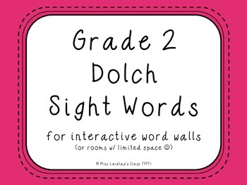 Grade 2 Dolch Sight Words {Pink} - for word walls and games