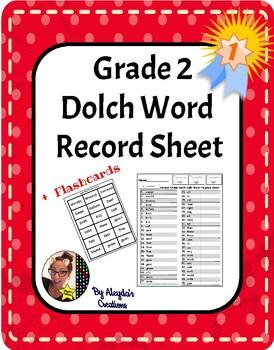 Dolch Words Progress Sheet+ Flashcards- Second Grade .95