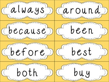 Grade 2 Dolch Sight Words {pale yellow} - for word walls and games