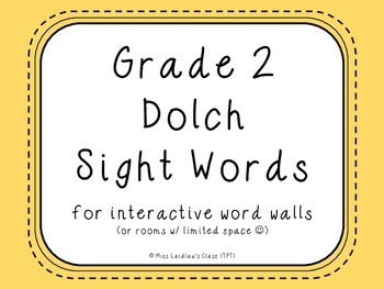 Grade 2 Dolch Sight Words {pale yellow} - for word walls a