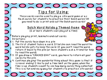 Grade 2 Dolch Word Game - Easter Themed