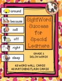 Grade 2 Dolch Word Wall Cards & Flashcards with Text and B