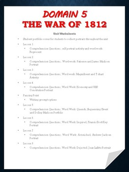 Grade 2 Domain 5: The War of 1812- Worksheets and Word Work