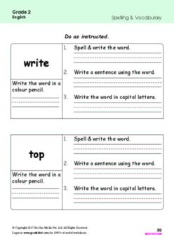 Grade 2 English Workbook/ Worksheets bundle from www.Grade1to6.com Books