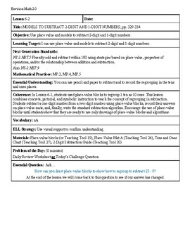 Grade 2 Envision 2.0 Lesson Plan for Volume 1 Topic 6.2