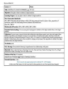 Grade 2 Envision 2.0 Lesson Plan for Volume 1 Topic 6.5