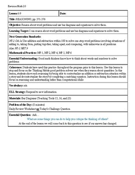Grade 2 Envision 2.0 Lesson Plan for Volume 1 Topic 6.9