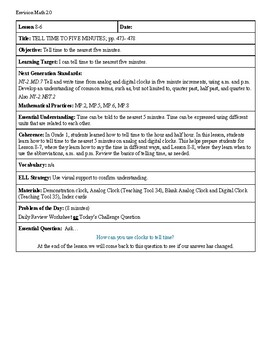 Grade 2 Envision 2.0 Lesson Plan for Volume 1 Topic 8.6