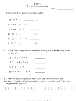 Grade 2 Equality & Expressions Quiz (French)
