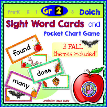 Grade 2: FALL Dolch Sight Word Cards/Pocket Chart Game