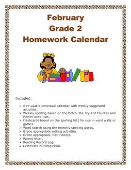 Grade 2 February Homework Calendar