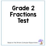 Grade 2 Fractions Test (Ontario Curriculum)