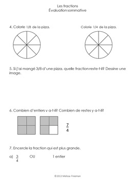 Grade 2 Fractions Test (French)