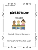 Grade 2 French Immersion Homework for the Whole Year!